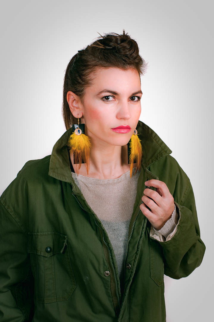 latrakia, handcrafted faux leather earrings